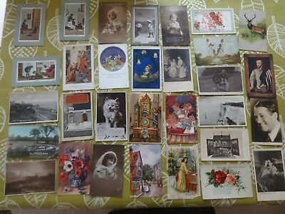 Old Vintage Postcards Collection  Job Lot Mixed Eras    31 cards + some  stamps