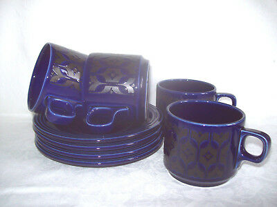 Hornsea Heirloom Blue Cups and Saucers x 4