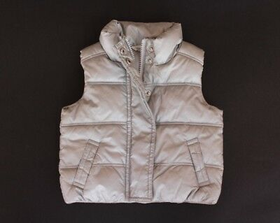 Country Road Baby Girls Sz 6 To 12 Months Silver Puffer Vest In Ex Condit