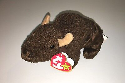 TY Beanie Baby Roam Big Brown Buffalo Bison NWT Retired Plush Toy PE Pellets