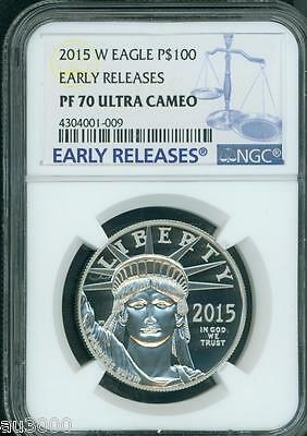 2015-W $100 PLATINUM STATUE  LIBERTY 1 Oz. NGC PF70 PROOF PR70 EARLY RELEASES ER