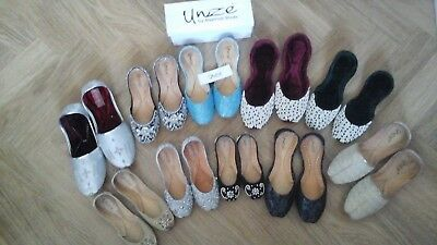 JOB LOT. 6  pairs of GIRLS  Unze Khussa slippers. LEATHER SLIPPERS