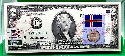 Money Us $2 Dollars 1995 Federal Reserve Note Atlanta Coin And Flag Of Iceland
