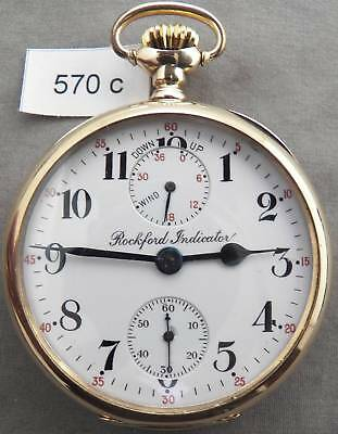 Rare Rockford No. 655 Wind Indicator Railroad Pocket Watch in 14K SOLID GOLD!!