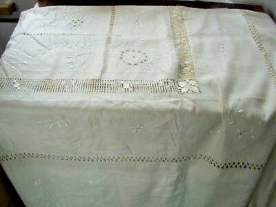 VINTAGE HAND EMBROIDERY CREAM LINEN BEAUTIFUL LARGE TABLECLOTH 204 X 180cms