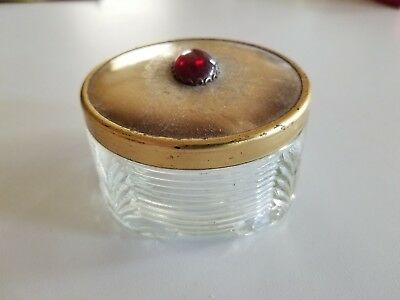 Antique Dresser Jar Gold Lid With Large Red Stone Estate Sale Find!!