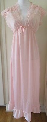 RIkki New York Pink 100% Nylon Lace Nightgown Gown Size L lg large