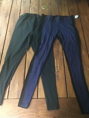 Lot 2 Japanese Weekend Maternity Leggings Riding Pants Small Black Blue EUC 6 8