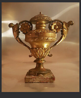 Italian Wood Carved, Gilded Neoclassical Urn W Metal Handles On Faux Marble Base