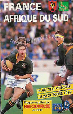 FRANCE v SOUTH AFRICA 24 Oct 1992 in PARIS RUGBY PROGRAMME