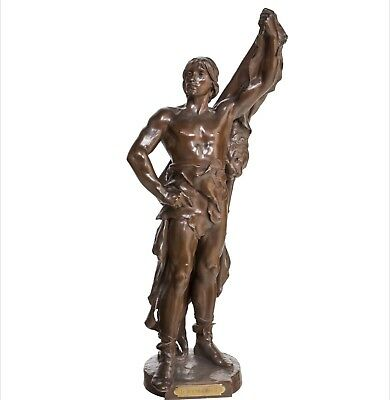 Eugene Marioton (French, 1854-1933) Bronze Of Young Hercules 28 Inches High