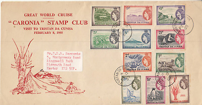 1955 Tristan Da Cunha Cruise Cover with 11 values to 1 sh to London