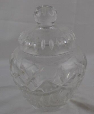 Glass Covered Heavy Crystal Jar Incised Finish Beautiful Bright Shiny Unmarked