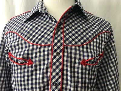 Vintage western cowboy shirt XL JC Penney gingham check piping pearl snaps