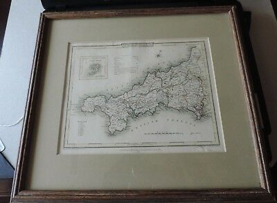 1805 Map of CORNWALL J. Britton, Roper, Cole, Vernor, Hood, Poultry ENGLAND