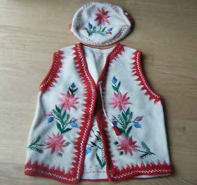 Vintage Wool Hand Embroidered Hand Made Children's Vest Cap Vibrant Pink Red
