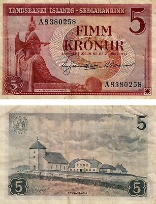 Iceland 5 Kronur 1957 Currency banknote Fine+ Condition !! Free Shipping!!