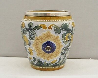 Unusual Royal Doulton Lambeth Art Pottery Silver Rimmed Pot/jar Birm 1902