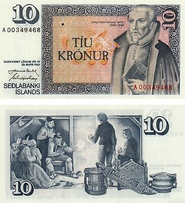 Uncirculated Iceland 10 Kronur 1961 banknote UNC Condition!! Free Shipping!!