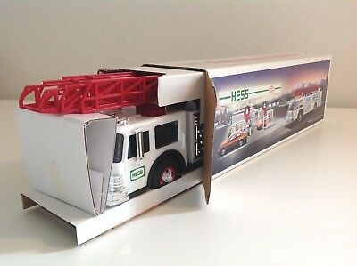 1989 Hess White Areal Fire Truck W/ Red Ladder Mint In Original Box And Inserts