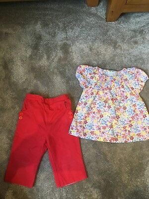 jojo maman bebe 2-3 girls Red Clam diggers And Floral Blouse Outfit