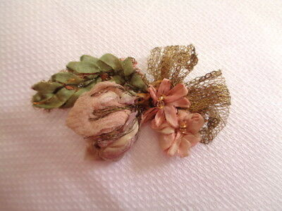 "2 1/4"" Edwardian To Deco Silk Chiffon Silk Ombre Rosebuds & Tiny Flowers"