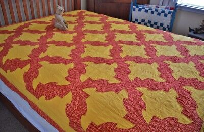 Antique Hand Stitched 19th c Calico Drunkards Path Quilt