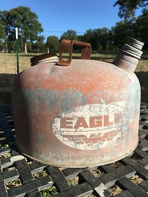Vintage EAGLE THE GASSER Can Gas Gasoline Oil Canister Galvanized
