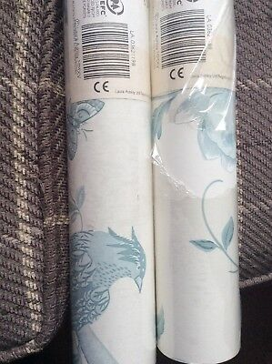 Laura Ashley Wallpaper - 2 Rolls - Summer Palace In Off White/ Duck Egg
