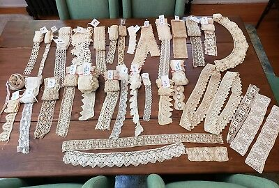 75+ Yards Lot of Antique Crochet Lace Trim Handmade Machine Multi Widths