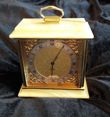 Vintage Azizoff of London Onyx Marble Brass Carriage Mantel Clock England
