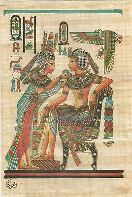 King Tut Eating With His Wife Original Hand Painted Papyrus (19.5×29.5) Cm
