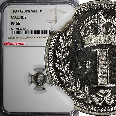 Great Britain George VI Silver PROOF 1937 1 Penny MAUNDY NGC PF66 KM# 846