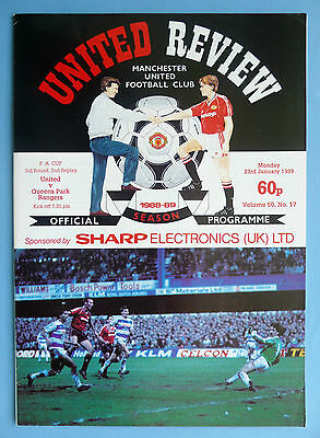 1988/89 Manchester United v Queens Park Rangers - fa cup round 3 2nd replay 23/1