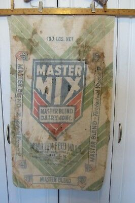 Master Mix McMillen Feed Mills, TN. IN. ILL. PA. OH. Cloth Bag Burlap Calf Cow