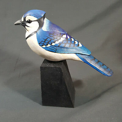 Blue Jay Carved Wood Bird Decorative Smooth Carving Signed Lawrence Reader