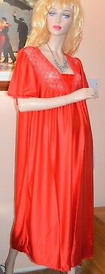 Red silky glossy nylon & lace chemise vintage night gown large