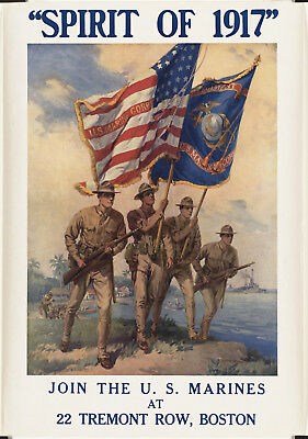 """1940s """"Sprit of 1917 Join The U.S. Marines"""" Vintage Style WW2 Army Poster -12x17"""