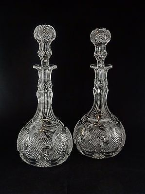 Pair (2) of Antique Crystal Glass Decanters w/Stoppers - Comet Swirl