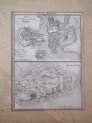 Old french Map of the island of Malta and Valletta. melitensia