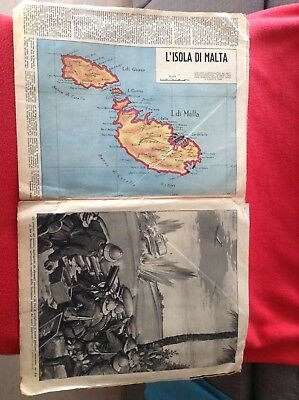 VERY RARE Malta map II great war. Original Italian newspaper 1940. Melitensia