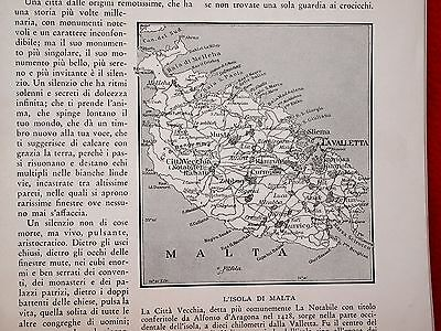 Melitensia Extract of italian Mdina Malta report 1938  Map Malta 25 old pictures