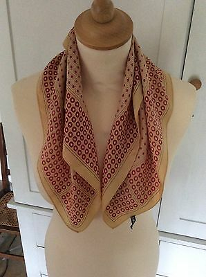 Vintage Silk Handkerchief / Scarf In Yellow And Red Circles Design