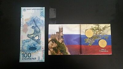 Russia bank note and coins mixed lot Sochi Olympics and Crimea