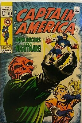 Captain America #115 High Gloss Iconic Red Skull Cover 1969