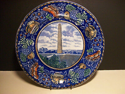 R&m Rowland Marsellus Staffordshire Plate Bunker Hill Monument In Polychrome