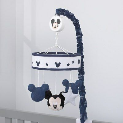 "Disney Baby Mickey Mouse ""Hello World"" Navy and White Musical Mobile BRAND NEW"