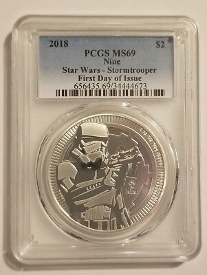 2018 $2 Niue Star Wars Stormtrooper 1oz Silver Coin PCGS MS69 First Day of Issue