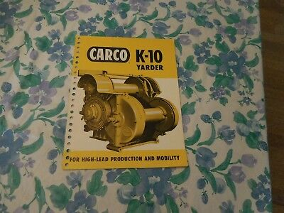 1960 Carco Model K-10 Yarder For Caterpillar D-8 Tractor Sales Brochure