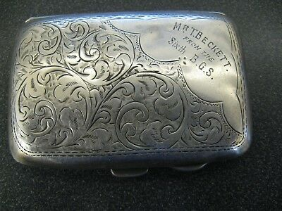 Early Sterling Silver Engraved Cigarette Case - Hallmark J. Gloster England